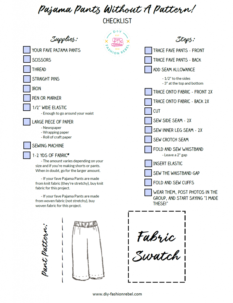 How To Steps for Sewing Pajama Pants and Shorts