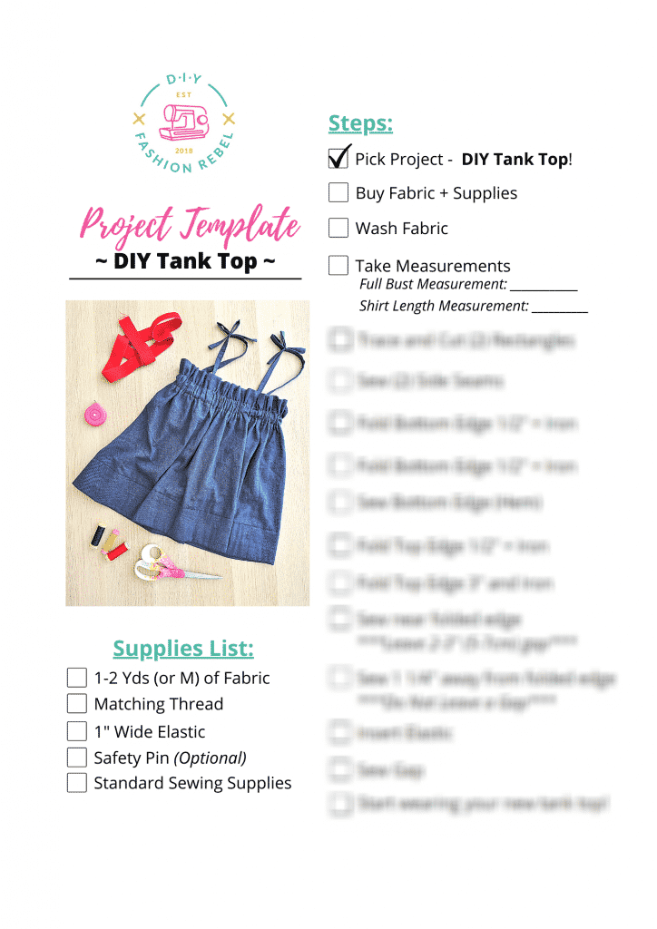 DIY Tank Top Project Template Preview