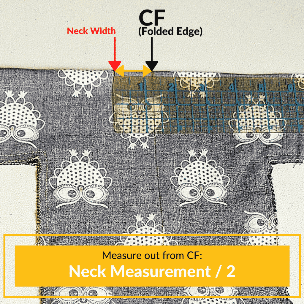 Mark the Neckline Measurement at the CF on the Folded Edge