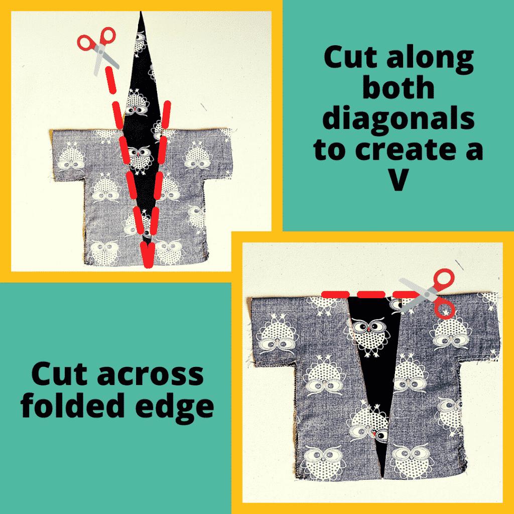 Cut out Neckline of the Kimono Robe